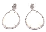 Oval Mother of Pearl Earrings with CZ