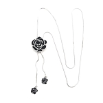Silver Snake Chain with Black & CZ  Rose Lariat