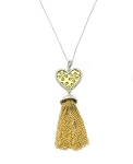 Heart Tassel Necklace Two Tone