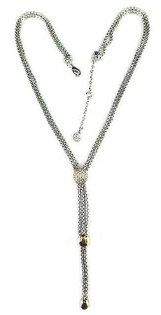 David Yurman Inspired, Rhodium double chain w/Pave disk
