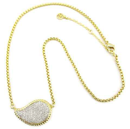 Pave Leaf Gold Chain Necklace