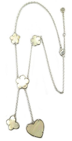 Rhodium Chain Mother of Pearl Clover & Heart Necklace
