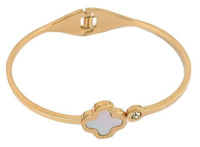 Stainless 14K Rose Gold Plate Bangle with Mother of Pearl & CZ