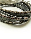 Four Row Brown Leather Wrap Bracelet or Choker