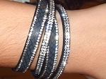 Inspired by Swarovski, 2 Row Leather Wrap Bracelet Black