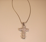 Sterling, CZ & Pearl Cross Necklace LAST ONE