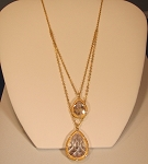 Frieda Rothman Design 14K Vermeil double necklace with 2 Pear CZ