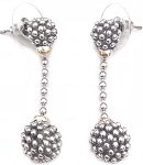 Rhodium Dangle Earrings with 2 Popcorn Balls