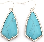 Turquoise Kite style Earring in Gold Bezel
