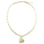 Roberto Coin Inspired Gold Paper Clip Necklace with Dangle Gold & CZ Heart