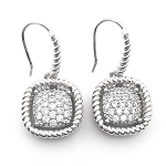 David Yurman Inspired, Rhodium, Square Pave Earrings