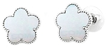 Mother of Pearl Clover Stud Earring w/Rhodium