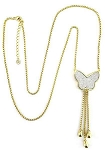 Pave Butterfly Tassel Gold Necklace