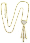 Pave Heart Tassel Necklace Inspired by Tiffany