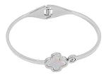 Stainless Rhodium Plate Bangle with Mother of Pearl & CZ