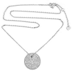 Sterling Silver Chain with Rhodium Pave Circle