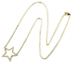 Sterling Silver Chain with 14K Gold plate & CZ Pave Open Star