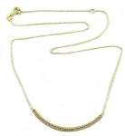 Sterling Silver, 14K gold plate Chain with Curve Bar Pave CZ Necklace