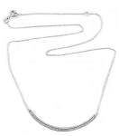 Sterling Silver Chain with Curve Bar Pave CZ Necklace