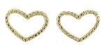 Sterling Silver with 14K plate Open CZ Heart Stud Earrings