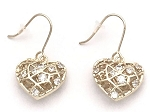 Gold Filigree Heart with CZ dangle Earring