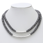 Inspired by Swarovski Hematitie Stardust Double Necklace w/Bar