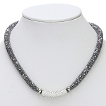 Inspired by Swarovski Hematite Stardust  Necklace with Pave Front