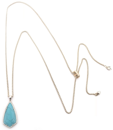 Gold Slide Chain with Turquoise Kite Pendant