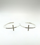 Hoop Cross Earrings (Silver)