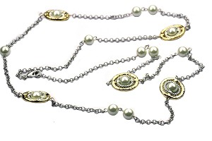 Long Two tone chain with Pearls DY
