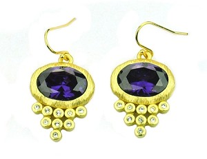 Amethyst Oval CZ Earring Matt Gold