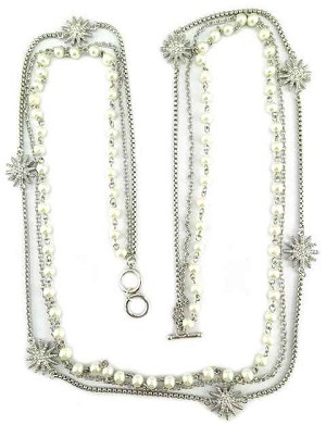 David Yurman Inspired, 3 strand Pearl, Starburst & silver chain 36