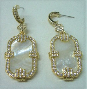 MOTHER OF PEARL, GOLD & CZ DANGLE EARRIGS