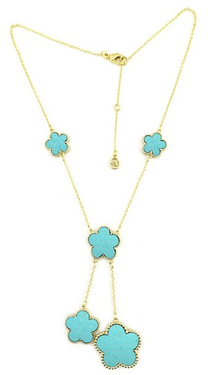 Gold Chain Turquoise  Dangle Clover  Necklace  16