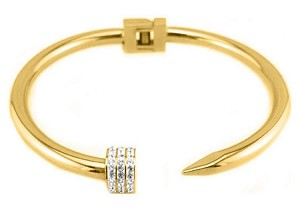 Stainless Steel with 14K Plate Nail Bracelet with CZ