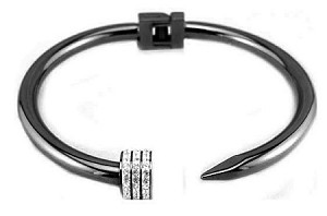 Stainless Steel with Hematite Plate Nail Bracelet with CZ