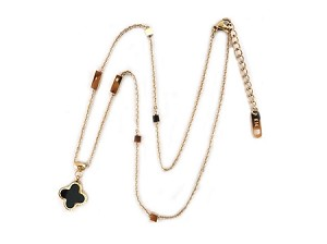 Stainless 14K Rose Gold Plate Necklace with Mother of Pearl & Onyx