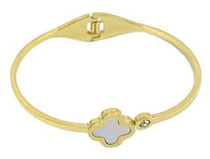 Stainless 14K Gold Plate Bangle with Mother of Pearl & CZ