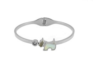 Stainless Rhodium Plate Bangle with Mother of Pearl Dog & CZ