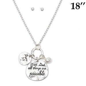 INSPIRATIONAL MESSAGE SILVER NECKLACE & STUD EARRINGS