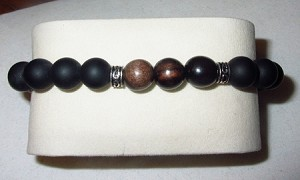 Men's Matt Black Onyx & Wood Bead Stretch Bracelet with Sterling Rondels