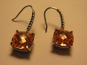 David Yurman Inspired, Rhodium, Square Citrine  Earring