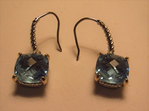 David Yurman Inspired, Rhodium, Square Blue Topaz  Earring