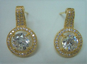 Gold CZ Pave Earrings