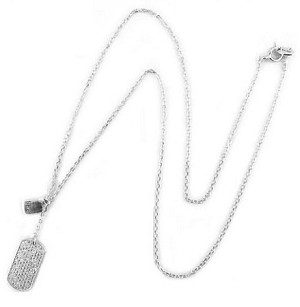 Tiffany Inspired Sterling Rhodium plate pave dog tag necklace