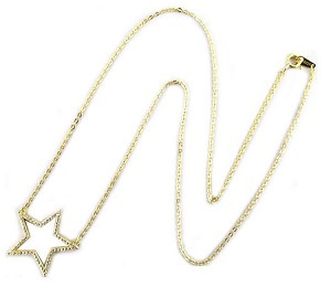 Sterling Silver Chain with Rhodium Pave Open Star