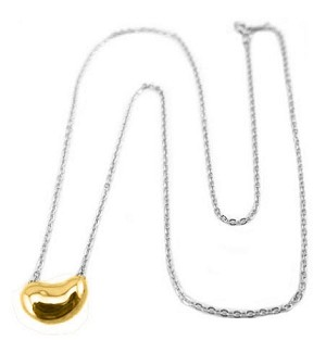Sterling Silver Chain with 14K Gold Bean Necklace