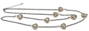 Rhodium Chain, Gold Puff Hearts with CZ 36""