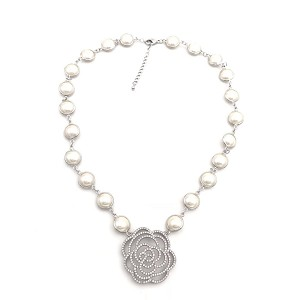Pearl Necklace set in Rhodium Bezel with Pave Rose Center