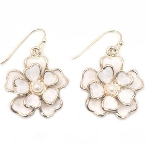 White Rose Dangle Earring with Gold Trim